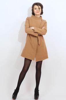 Пальто женское с поясом (бежевое) Kokette со скидкой
