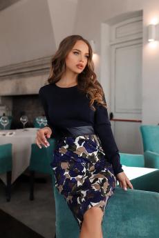 Новинка: темно-синее платье с кожаной вставкой Open Style