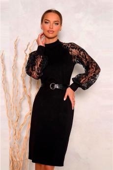 Новинка: черное платье с кружевными рукавами Open Style
